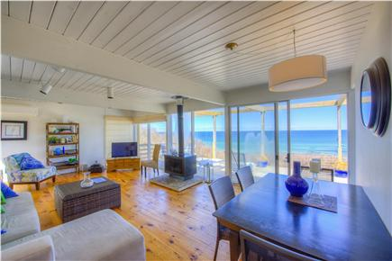 East Sandwich Cape Cod vacation rental - Living room boasts a wall of glass slides and ocean breezes.