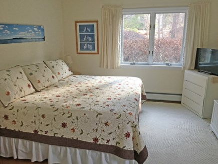 East Orleans Cape Cod vacation rental - 1st-floor master bedroom (with TV & 3-step access from back yard)