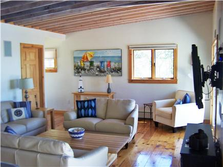 Lieutenant Island, Wellfleet Cape Cod vacation rental - Sunny living room recently enlarged & completely renovated