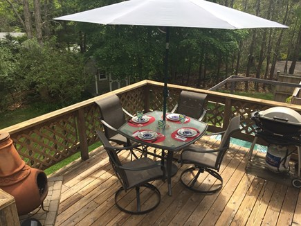 Yarmouth Port Cape Cod vacation rental - Back Deck with Chimnea & Grill
