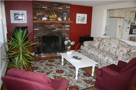 Yarmouth Port Cape Cod vacation rental - Living Room with TV and view towards kitchen