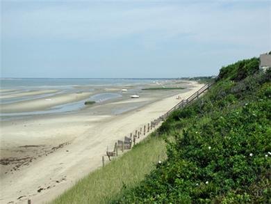 Eastham Cape Cod vacation rental - Looking North from staircase (low tide)