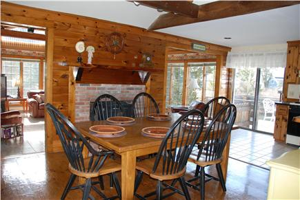 Dennisport Cape Cod vacation rental - Open floor plan connects dining room, large kitchen, great room.