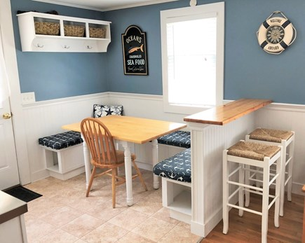 South Chatham - Forest Beach Cape Cod vacation rental - Eat in kitchen seating with two bar seats in kitchen.