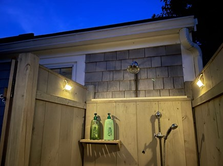 South Chatham - Forest Beach Cape Cod vacation rental - Outdoor shower has solar lights.