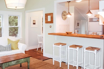 Barnstable Cape Cod vacation rental - Living Room Area and Island Seating for Casual Dining