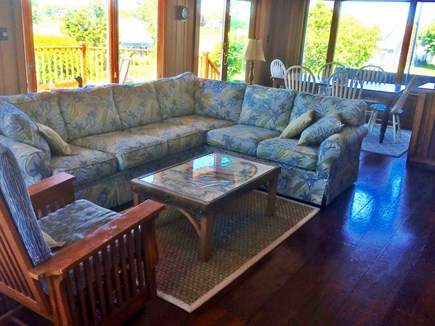 West Chatham Cape Cod vacation rental - Living/Dining Area with slder to deck and separate bar area