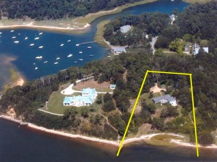 Orleans Cape Cod vacation rental - The Bay House and waterfront is outlined in yellow