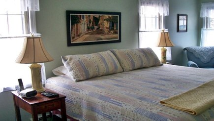 Brewster Cape Cod vacation rental - Air-conditioned large master bedroom with King bed, attached bath