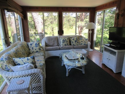 South Chatham Cape Cod vacation rental - Enclosed porch with view of salt marsh