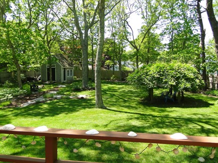 Centerville, Barnstable Centerville vacation rental - View of the expansive, fenced yard from the deck