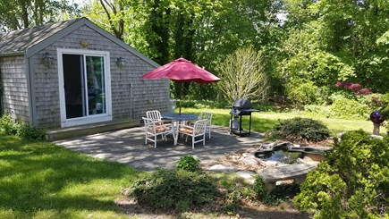 Yarmouth Port Cape Cod vacation rental - Serene and lovely patio overlooking gold fish pond