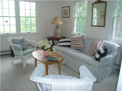 East Orleans Cape Cod vacation rental - Bright Living room looking out to a private acre