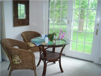 East Orleans Cape Cod vacation rental - The Dining Nook  with back entrance out to the shaded lawn