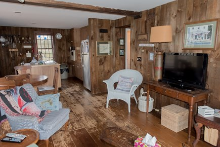 Brewster Cape Cod vacation rental - Cozy living room with TV, WIFI and slider to pondfront deck