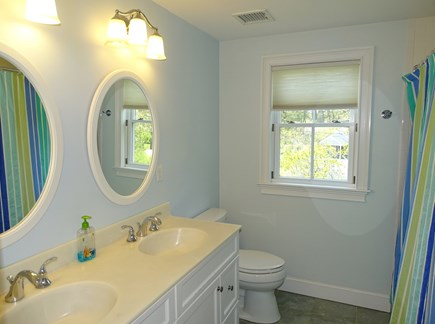 Dennis Port Cape Cod vacation rental - Bathroom upstairs with double sinks
