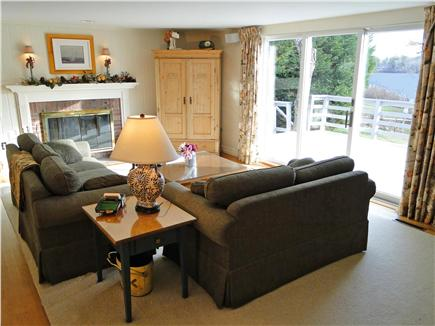 Brewster Cape Cod vacation rental - Living room with slider to deck, view of pond
