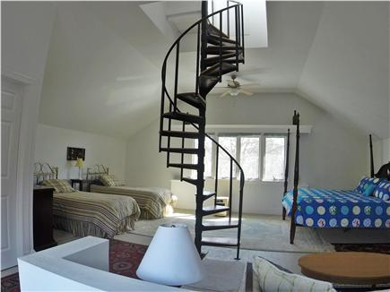 Brewster Dennis town line Cape Cod vacation rental - Upstairs loft has king bed and two twins. Stairs to Cupola