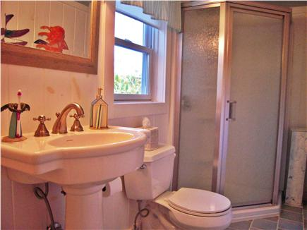 Eastham Cape Cod vacation rental - Bathroom with glass enclosed corner shower
