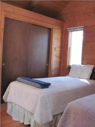 South Wellfleet Cape Cod vacation rental - Downstairs bedroom, twin beds, cathedral ceiling.