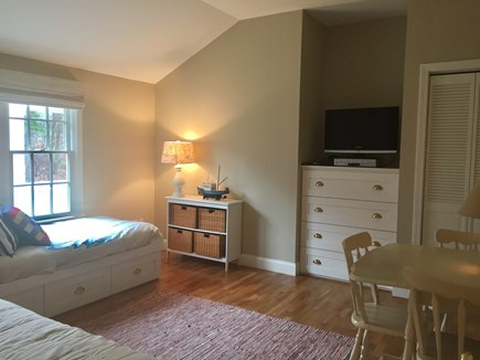 East Orleans Cape Cod vacation rental - 3rd bedroom with 2 twins, seating area and TV