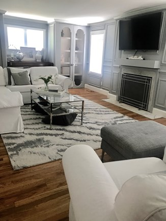 Centerville,  Barnstable Centerville vacation rental - Large living room with TV with L section sofa and 2 club chairs.