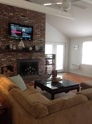 Brewster Cape Cod vacation rental - Family Room with LED 4K Ultra HDTV and large sectional sofa