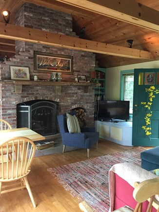 Brewster Cape Cod vacation rental - Living Room Fireplace, TV, Pond View, Central Wifi