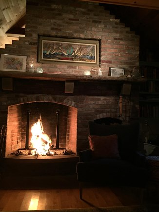 Brewster Cape Cod vacation rental - Living room fireplace, for cozy evenings, late spring and fall.