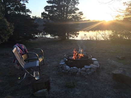 Brewster Cape Cod vacation rental - Fire pit by the pond, watch the sunset.