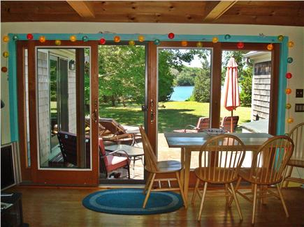 Brewster Cape Cod vacation rental - View from living room out to brick patio and pond