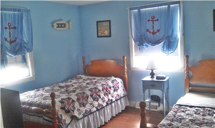 Dennisport Cape Cod vacation rental - Downstairs bedroom w/ two twins and cable T.V.