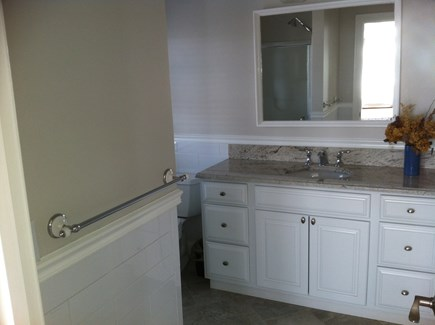 West Yarmouth Cape Cod vacation rental - Master Bathroom with shower and Granite Counter Tops.