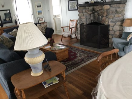 West Yarmouth Cape Cod vacation rental - Living Room with field stone fireplace and flat screen TV.