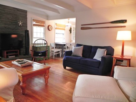 Popponesset Cape Cod vacation rental - Sunny, spacious living room with cable TV and Wifi. Entry view.