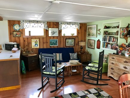 Brewster Cape Cod vacation rental - Living room overlooking deck and Paine's Creek views.