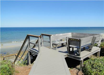 Dennis Cape Cod vacation rental - Afternoon drinks – private deck leading to beach