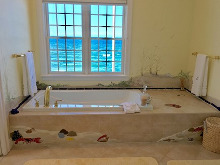 Dennis Cape Cod vacation rental - Master bath with soaking tub, walk in custom tile shower