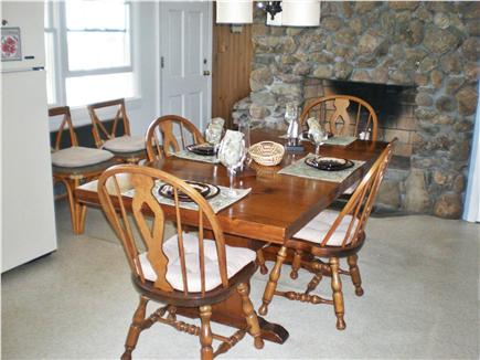 East Falmouth Cape Cod vacation rental - Kitchen with working stone fireplace