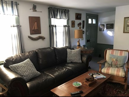 East Dennis Cape Cod vacation rental - Living room with leather furniture