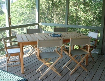 East Dennis Cape Cod vacation rental - Teak table for your dining enjoyment out on screened-in- porch