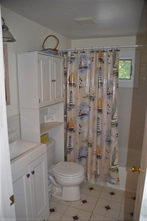 South Yarmouth Cape Cod vacation rental - Sparkling clean bathroom features a shower over tub