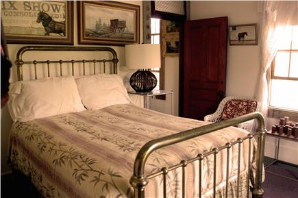 N. Truro Cape Cod vacation rental - 2nd floor bedroom with full size brass bed: overlooks grounds