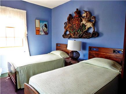 N. Truro Cape Cod vacation rental - 2nd floor royal blue bedroom with twin beds: next to full bath