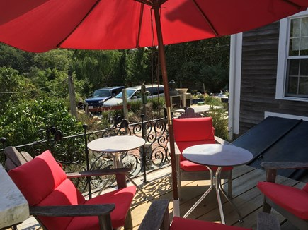 N. Truro Cape Cod vacation rental - Seating area on new deck, across from the apartment front door