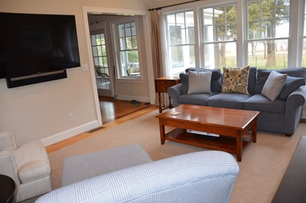 Brewster Cape Cod vacation rental - Family room with views of marsh and bay