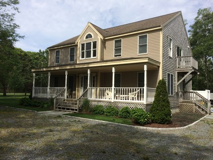 Eastham Cape Cod vacation rental - Main Entrance to house with wicker chairs on porch