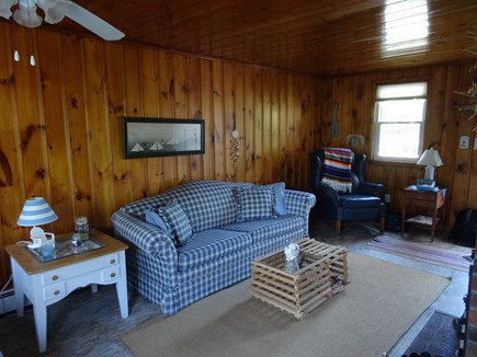 South Harwich Cape Cod vacation rental - Family room with fireplace adding to the Cape Cod charm