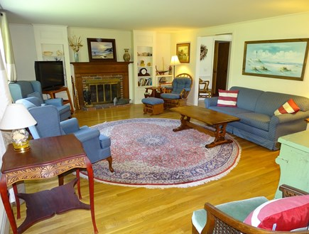 East Dennis Cape Cod vacation rental - Living room offers flat screen TV, full-size sofa sleeper couch