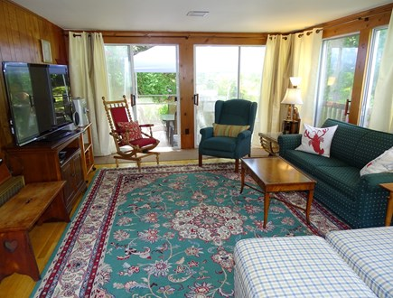 East Dennis Cape Cod vacation rental - Family room with TV and full-size sofa sleeper couch